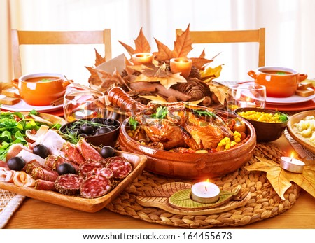 Festive Thanksgiving day dinner, celebration holiday at home, traditional homemade tasty dishes, beautiful autumnal decor - stock photo