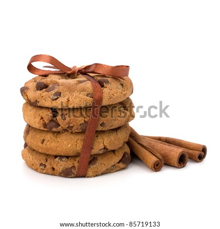 Festive wrapped chocolate pastry biscuits isolated on white background - stock photo