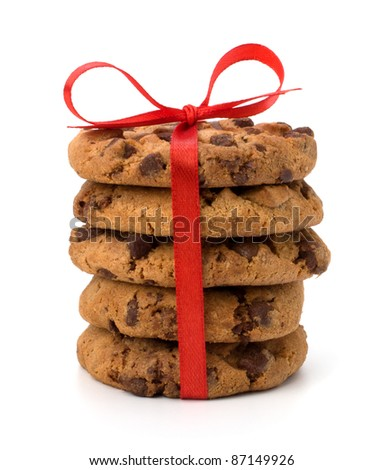 Festive wrapped chocolate pastry cookies isolated on white background - stock photo