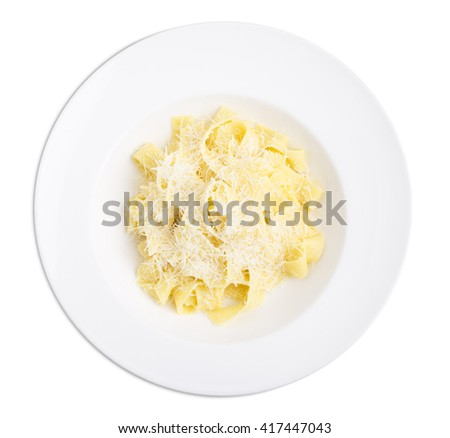Fettuccini with parmesan. Isolated on a white background. - stock photo
