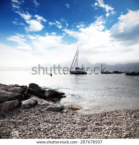 few boats and sky  - stock photo