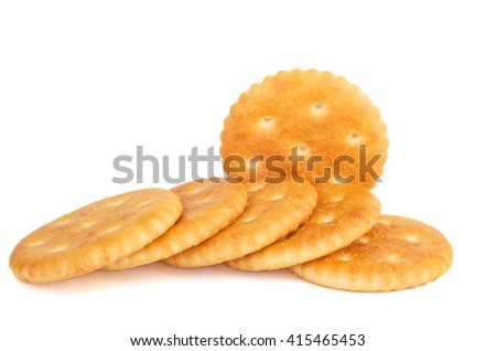 Few crackers isolated on white background - stock photo