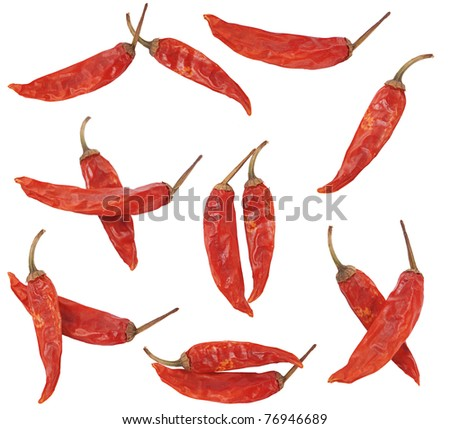 few dry red pepper on white background - stock photo