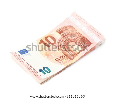 Few five euro bank note bills in a stack, isolated over the white background - stock photo
