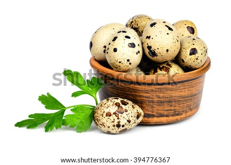 Few fresh quail eggs in a ceramic bowl and a sprig of parsley isolated on white background. - stock photo