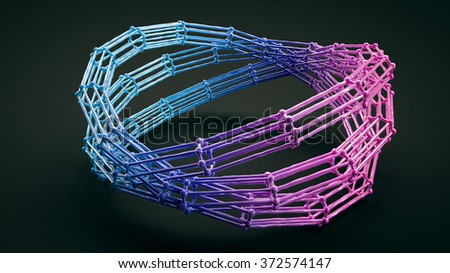 few molecular ellipses connected. atomic structure circle grid isolated on black background, - stock photo