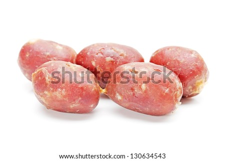 Few sausages isolated on the white background - stock photo
