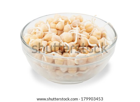Few Spanish pea sprouts in glass transparent bowl isolated on white background - stock photo