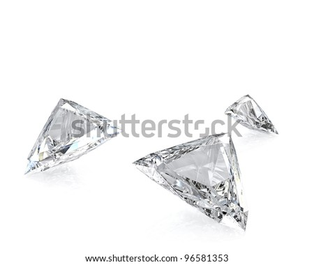 Few trilliant cut diamonds, isolated on white background - stock photo