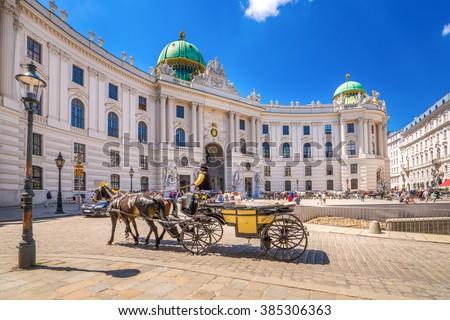 Fiacre, Hofburg, Vienna,  - stock photo