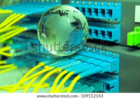fiber cable serve with technology style against fiber optic background - stock photo