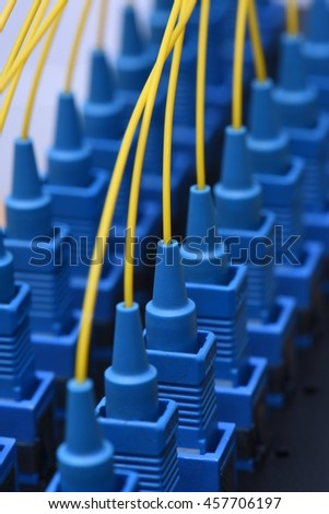 Fiber network yellow optical network cables with SC connectors - stock photo