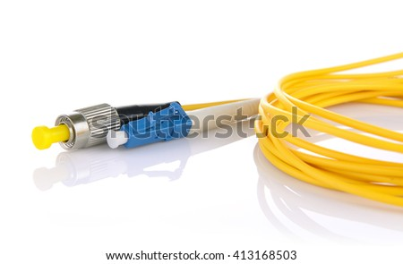 Fiber optic cables isolated on white background - stock photo