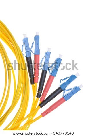 Fiber optic patchcords isolated on white background - stock photo