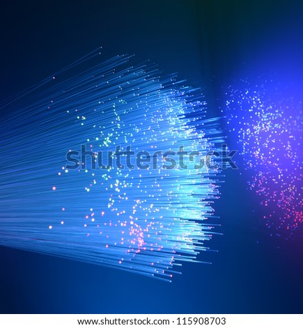 fiber optic showing data or internet communication concept - stock photo