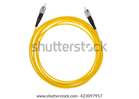 Fiber optic single mode FC jack isolated over white background.Top view. - stock photo