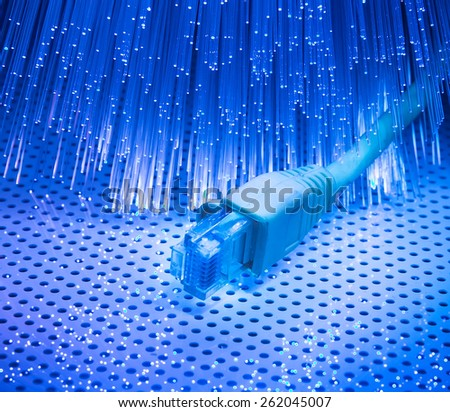 fiber optical with network cable - stock photo