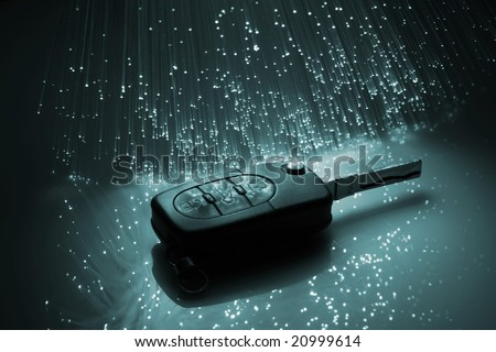 Fiber optics background with lots of light spots - stock photo