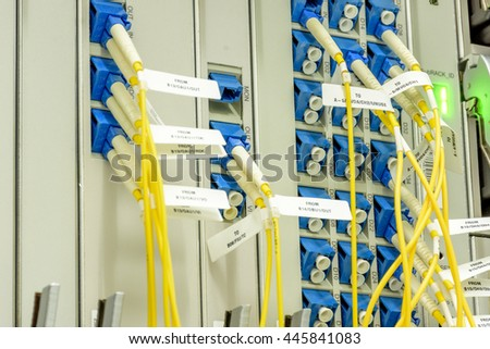 Fiber optics connection system in a technology data center  - stock photo
