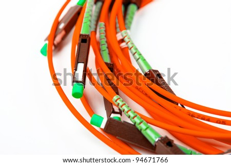 Fiber Optics connectors. Internet Service Provider equipment. Focus on fiber optic cables. Data Network Hardware Concept. - stock photo