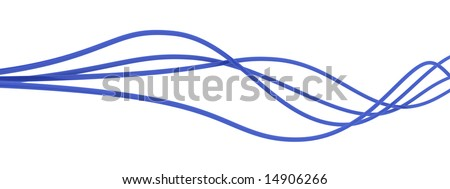 fibre-optical blue cables on a white background - stock photo