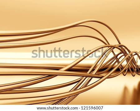 fibre-optical metal cables on a reflective background - stock photo