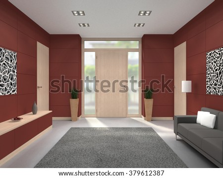 fictitious 3D rendering of a modern maroon lobby interior with wooden front door - stock photo