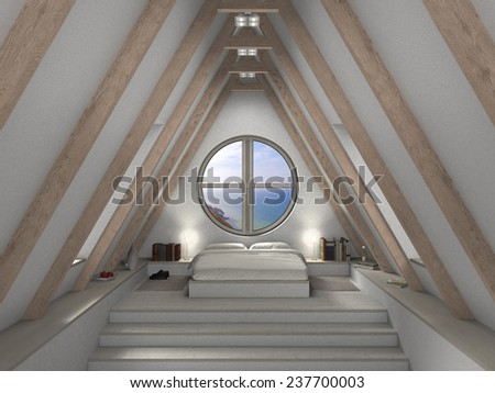 fictitious 3D rendering of an attic bedroom with fantastic view - stock photo