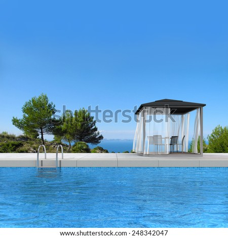 fictitious 3D rendering showing a swimming pool with pavilion and fantastic view to the sea - stock photo