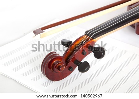 fiddle and musical notebook - stock photo