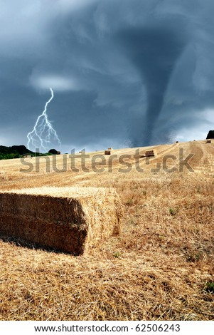 field after threshing with stormy sky - stock photo