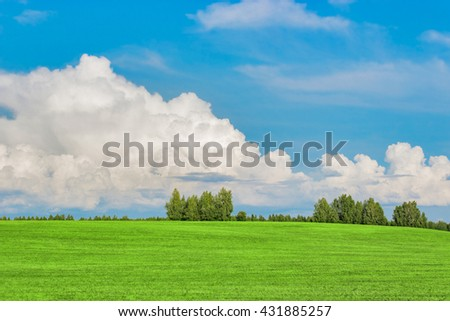 field and sky - stock photo