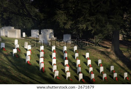 Field at Arlington National Cemetery Decorated for Christmas - stock photo