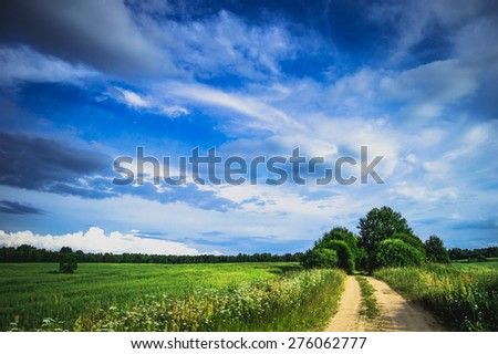 Field landscape with village door and deep blue sky/Field landscape - stock photo