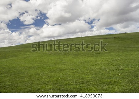Field of fresh, spring grass on a sunny day filled with puffy cumulus clouds. - stock photo
