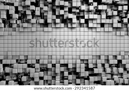 Field of gray 3d cubes. 3d render background image - stock photo