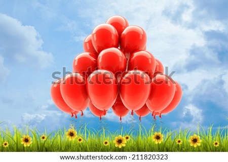 Field of green grass and sky with  Red party helium balloons. High resolution 3d  - stock photo