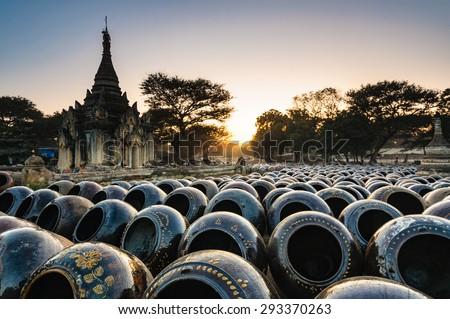 Field of jars in Bagan, Myanmar - stock photo
