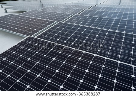 Field of Photovoltaic Solar Panels For Renewable Electrical Energy Production - stock photo