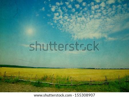 field under sky in grunge - stock photo