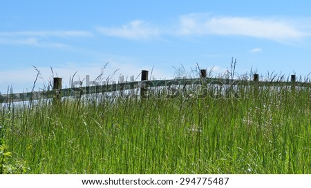 Field with fence and blue sky landscape photograph - stock photo