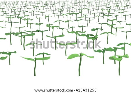 field with planted sprouts 3d illustration - stock photo