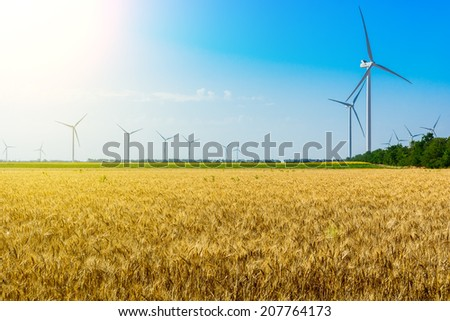 Field with wheat and eco power, wind turbines - stock photo