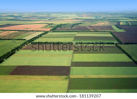 Fields. Aerial view. - stock photo