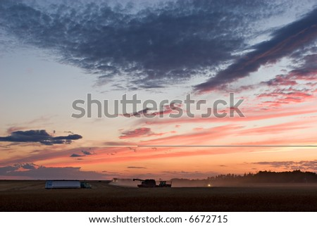 Fields being harvested, Gilbert Plains, Manitoba, Canada - stock photo