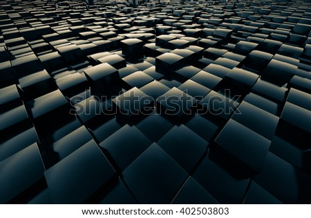 Fields cubic reflective shiny abstract 3D rendering. - stock photo