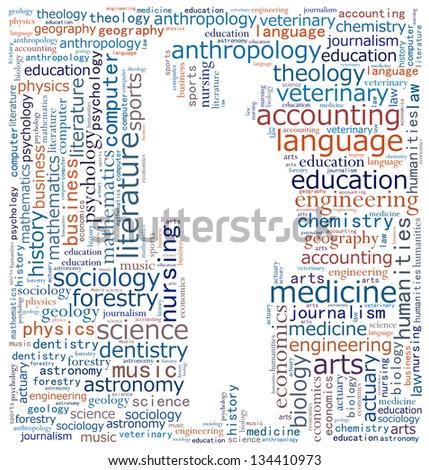 Fields of tertiary studies - stock photo