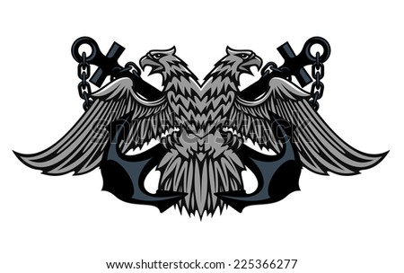 Fierce double headed Imperial eagle icon on crossed anchors with chains for heraldic design - stock photo