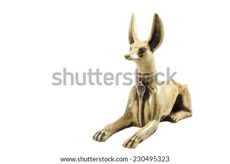 fierce egypt anubis isolated on white background. This item is my collection, no restrict in copy or use - stock photo