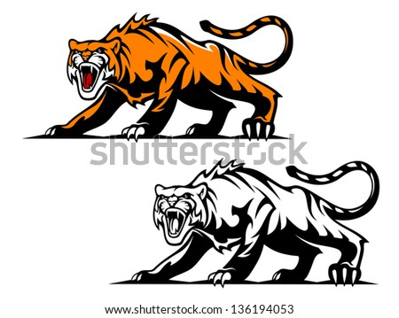 Fierce snarling wild cat crouched low on its haunches with its hackles raised, two colour variants. Vector version also available in gallery - stock photo